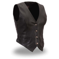 First Racing Soft Cowhide Leather Naked Vest for Ladies with Reflective Stars