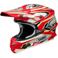 Shoei Vfx-W Block Pass Helmet Red Side View