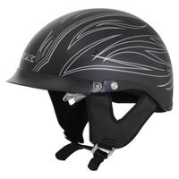 AFX FX-200 Flat Pinstripe Beanie Helmet  Silver