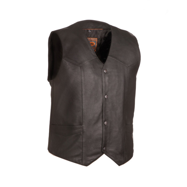 First Classics Men's Texan Leather V Neck Vest Black Main View