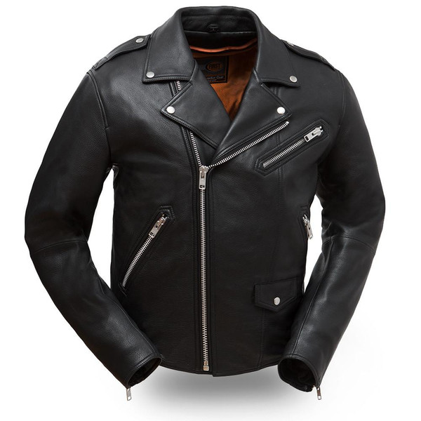 First Classics Enforcer Traditional Basic Biker Jacket ...