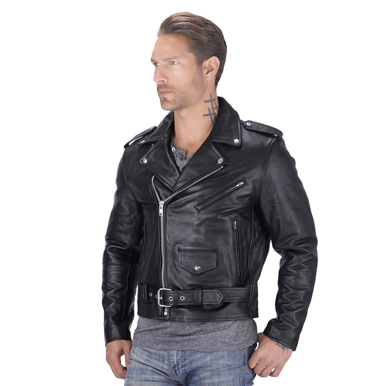 Nomad USA Classic Leather Biker Jacket - Motorcycle House