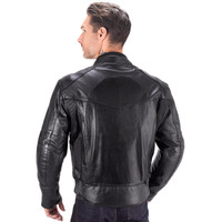 Viking Cycle Skeid Leather Jacket for Men Black Back View