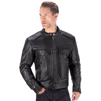 Viking Cycle Skeid Leather Jacket for Men Black Front View