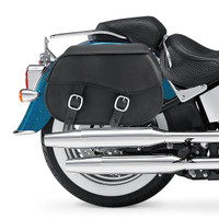 Nomad USA Large Leather Throw-over Motorcycle Saddlebags  2