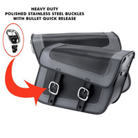 Nomad USA Gray Leather Large Motorcycle Saddlebags w/ Quick Release Buckles 4