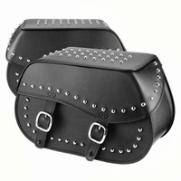 Nomad USA Large Leather Studded Throw-over Motorcycle Saddlebags Both Side Bags