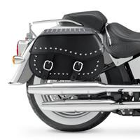 Nomad USA Large Leather Studded Throw-over Motorcycle Saddlebags Bag On Bike