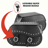 Nomad USA Large Leather Studded Throw-over Motorcycle Saddlebags Lockable Quick Release Buckle