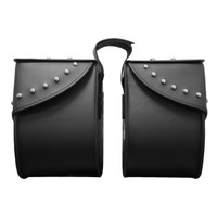 Nomad USA Large Leather Studded Throw-over Motorcycle Saddlebags Both Bags