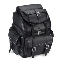 Viking Backrest Studded Leather Motorcycle Bag