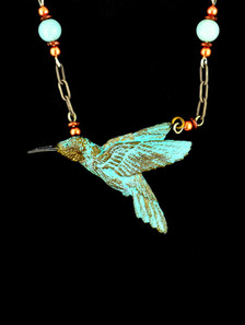 """Cavin Richie design hummingbird pendant, silicon bronze from original elk antler or woolly mammoth ivory carving, 1 3/4 """" X 1 1/4"""", antiquated silver beaded chain included."""