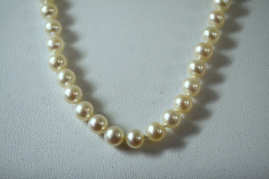 """18 inch Imperial white freshwater pearl necklace, 5.0 to 5.mm, AA quality, with a 14K white gold clasp. Comes in a 9"""" by 6.5"""" gift box. Imperial: A Fierce Passion for Fine Pearls and Fresh Innovative Design."""