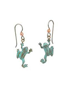 The Pacific Tree Frog is one of the smallest and loudest amphibians of the Pacific Northwest. One leg flexes back as it climbs. The earring hooks are made from gray niobium (hypoallergenic) with a copper bead. 1 inch high by ¾ inch wide, cast in lightweight artist's bronze. Casting was created from one of Cavin's original shed-elk antler or woolly mammoth ivory carvings, to give the finished product more natural detail than is possible with a wax carving. Cast in the USA and hand finished in Washington State.