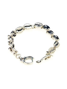 """The one and only original Cool Beans coffee bean bracelet... created by the Northwoods Goldsmith from individual sterling silver coffee beans, each different, joined by a stunning coffee pot and spoon toggle clasp. """"Cool Beans"""" is a registered federal trademark.   7.5 inch standard size, also available in 7 inch and 8 inch."""