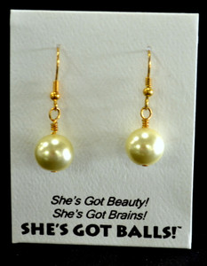 "Our lemon balls consist of high quality created Swarovski pearls on French wires, accompanied by our delightfully tacky packaging.  The balls come mounted on this card, with the inscription ""She's Got Beauty! She's Got Brains! She's Got Balls!"""