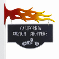 "2-Sided Hanging Garage Motorcycle Plaque 15""W x 9""H (2 Lines)"