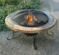 """34"""" Slate Firepit w/ Copper Accents"""