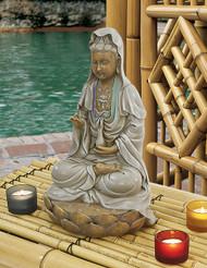 "Goddess Guan Yin Seated on Lotus Statue 12""H"