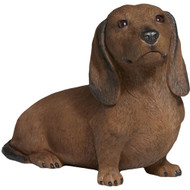 "Sandicast Smooth Red Dachshund Statue Sitting 9""H"