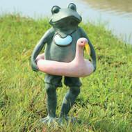 """Beach Buddy Frog Sculpture 20""""H"""