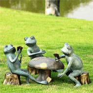 Frogs Cheating at Card Game Sculpture Set