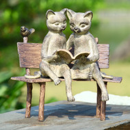 "Reading Cats on a Bench Garden Sculpture 15""L"