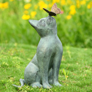"Curiosity Cat and Butterfly Garden Sculpture 15""H"