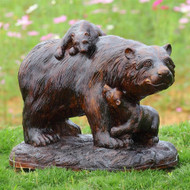 """Playtime Mama Bear and Cubs Resin Garden Sculpture 23""""L"""