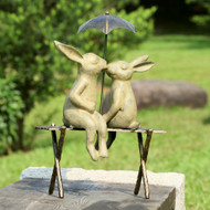 "Bunny Lovers on Bench Garden Sculpture 18""H"