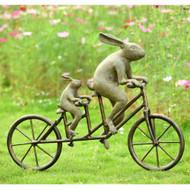 """Tandem Bicycle Bunnies Garden Sculpture 28""""W"""