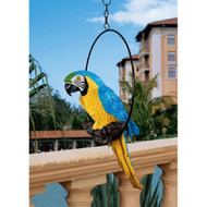 """Polly in Paradise Parrot Hanging Statue 18""""H"""