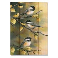 """Three Chickadees Wall Art 14"""" x 20"""""""