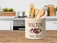 Personalized Rose Stoneware 2 Gallon Crock
