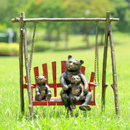 "Bear and Cubs on Porch Swing Aluminum Garden Sculpture 23""H"