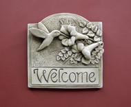 "Hummingbird Welcome Plaque 6.5"" Square"