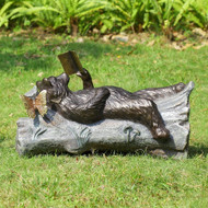 "Lazy Reader Bear Garden Sculpture 25""W"
