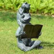 "Eager Readers Frog Garden Sculpture 19""H"