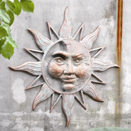 "Half Face Sun Wall Plaque 33.5""W"