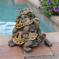"Three's a Crowd Stacked Turtle Garden Statue 9.5""H"