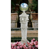 "Lion Head Gazing Globe Garden Pillar Statue 41""H"