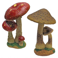 "Mystic Forest Red and Tan Mushroom Statues 13""H"