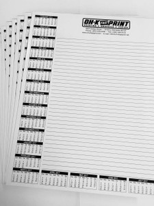 "8  1/2"" x 11""  Black & White 1-sided Notepads"