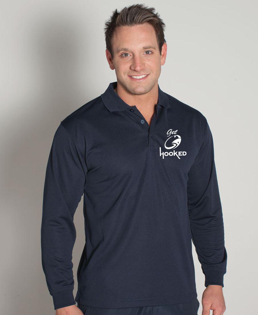 Mens Fishing Shirt Collared Long Sleeve Polo Upf