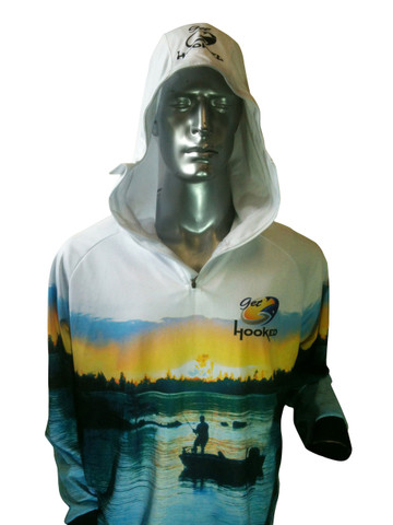 Fish Smart with our Sun Safe UV Protection Full Zip Hoodie. White Estuary Design