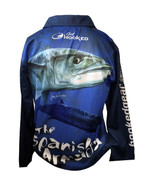 Fish Smart with our Sun Safe UV Protection Tournament Polo Shirt. Spanish Mackeral Design