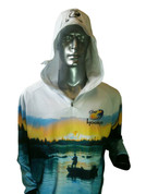Kids Long Sleeved Fishing Hoodie with Hood up