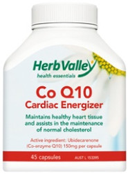 Co Enzyme Q10 150mg 45 Capsules Herb Valley