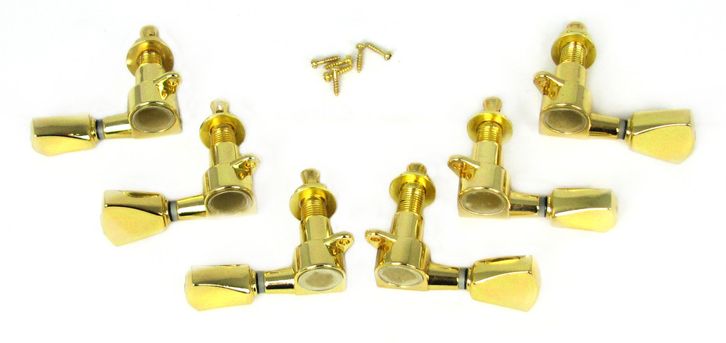 6pc Gold Tombstone-style 3L/3R Sealed-Gear Tuners