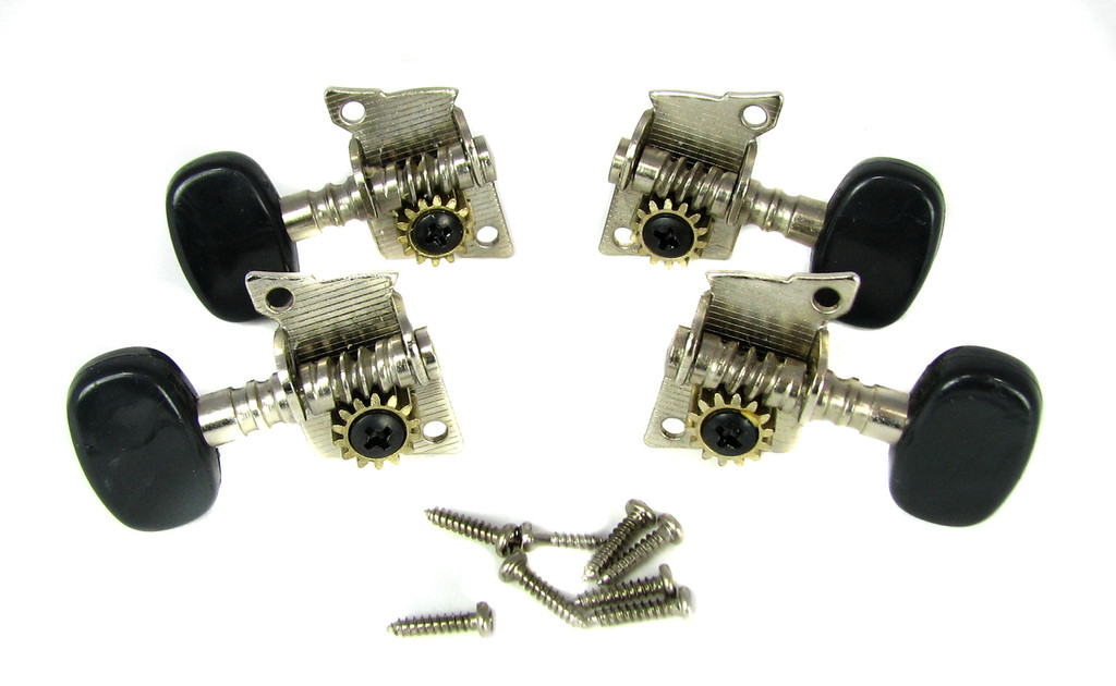 4pc. Black-Button Open Gear Ukulele Tuners - 2L/2R